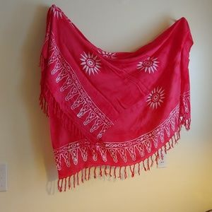 Accessories - Beautiful Pink Batik Fringed Wrap